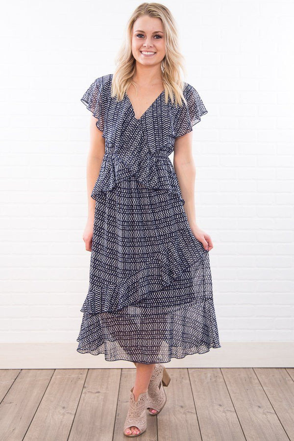 Walking On Water Ruffle Dress In Navy - Filly Flair