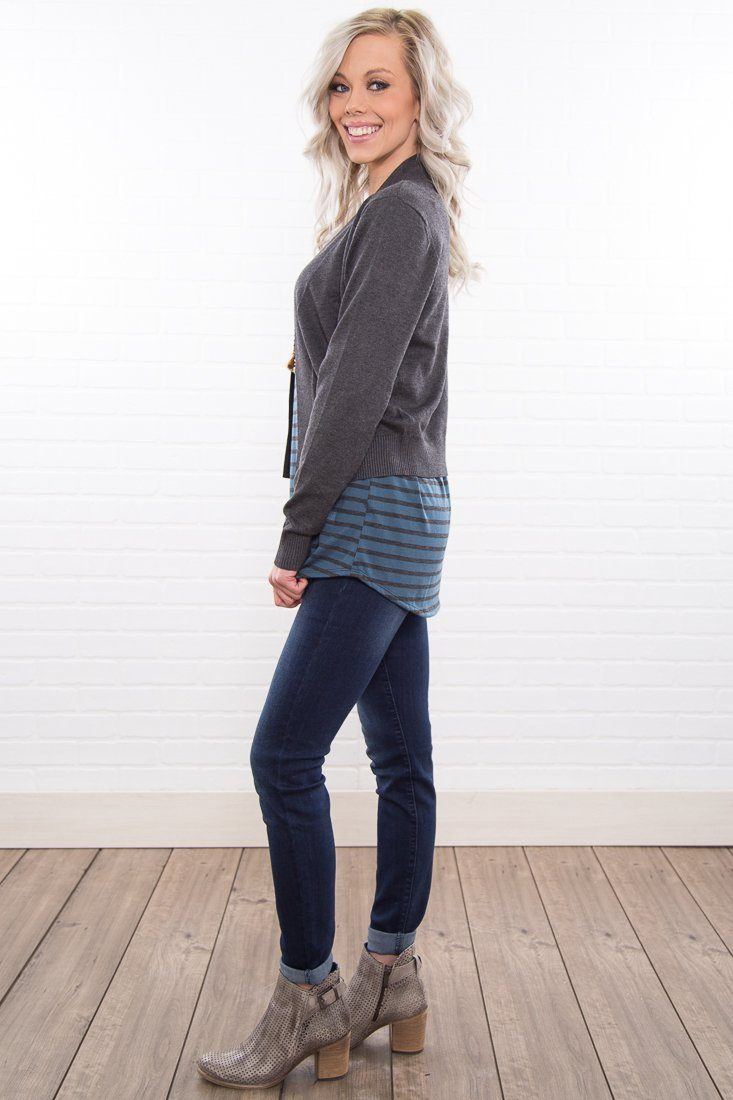 Thursday Morning Super Soft Crop Cardigan In Grey