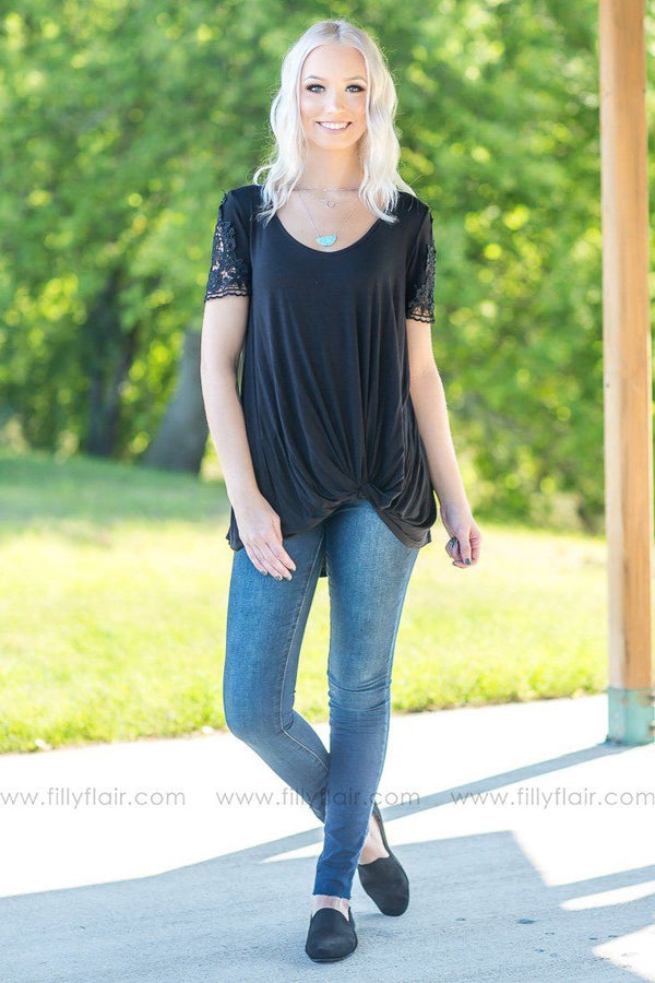 The Simple Love of Lace Detail Short Sleeve Knotted Top in Black - Filly Flair