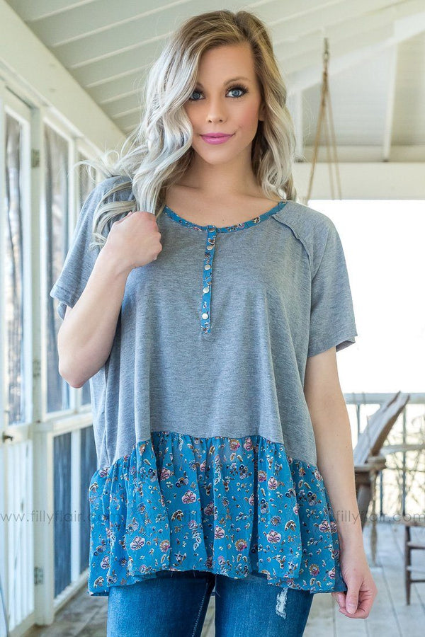 Make It Through Ruffle Floral Top In Grey Blue - Filly Flair