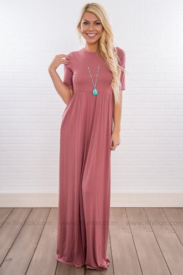 Sleep In Solid Short Sleeve Maxi Dress In Mauve