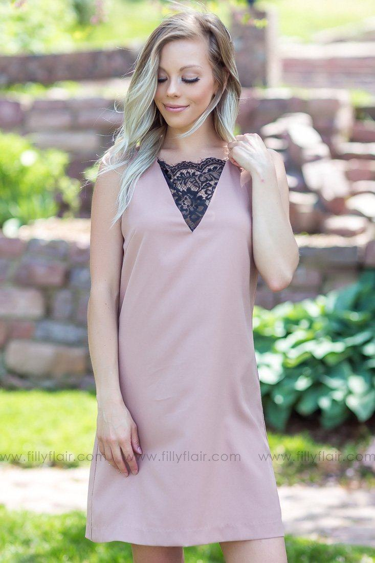 Sweet Sophistication Sleeveless Lace Dress In Tan - Filly Flair
