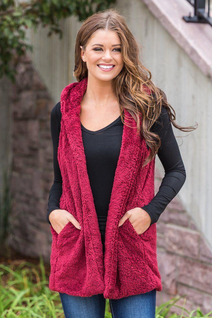 Warm Fuzzy Feeling Hooded Vest in Burgundy - Filly Flair