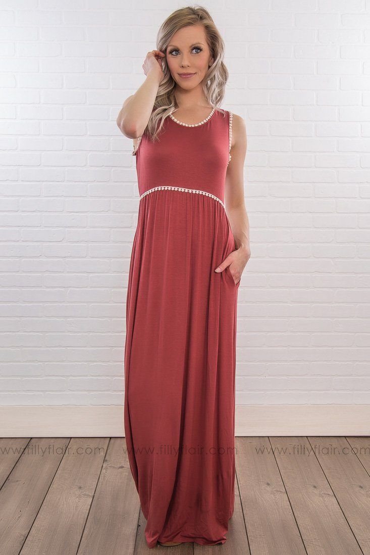 So Much To Say Sleeveless Macrame Trim Maxi Dress In Rust