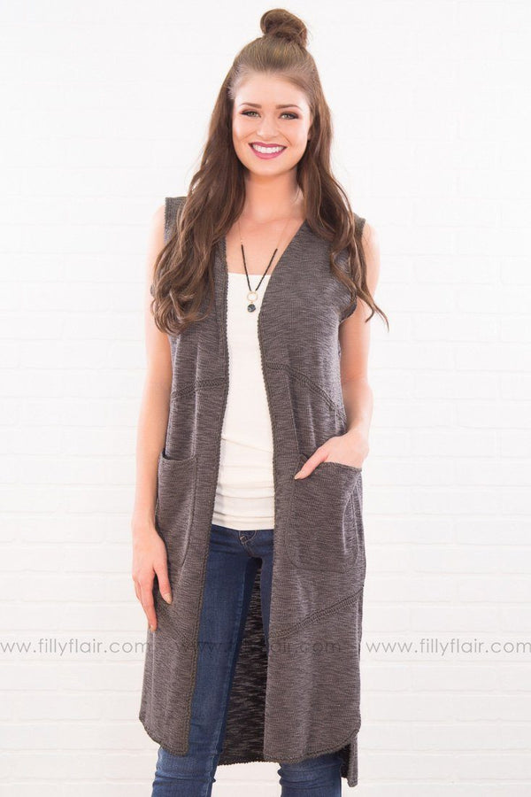 Break The Ice Pocket Duster Cardigan In Charcoal