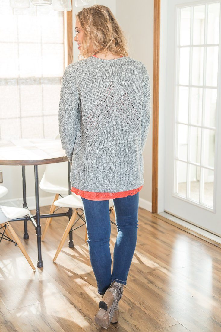 Soft Touch Long Sleeve Knit Open Cardigan In Grey