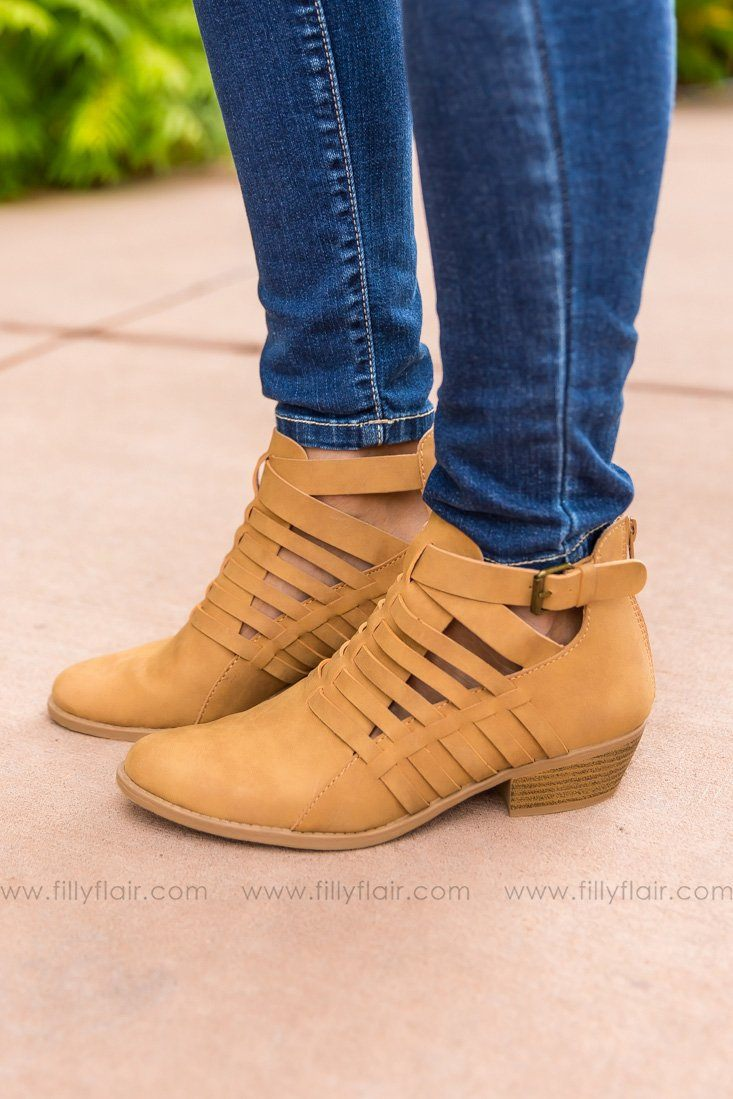 Out On The Town Sochi Tan Booties - Filly Flair