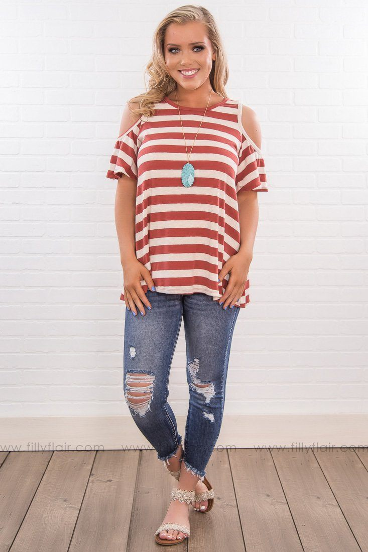 Glad You're You Striped Cold Shoulder Top In Copper