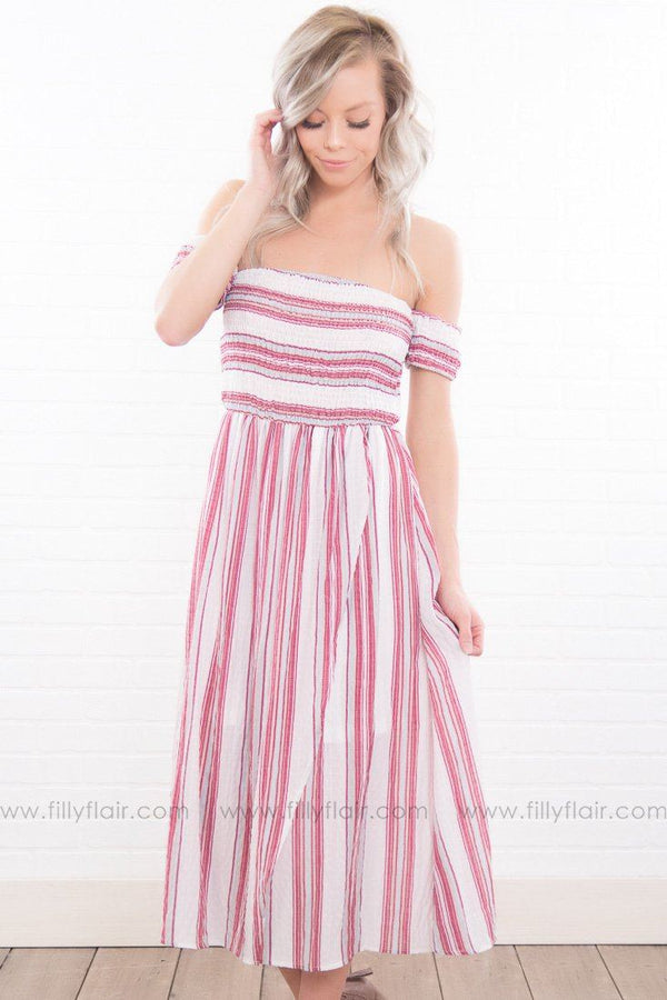 Heart Wide Open Striped Off the Shoulder Dress In Red