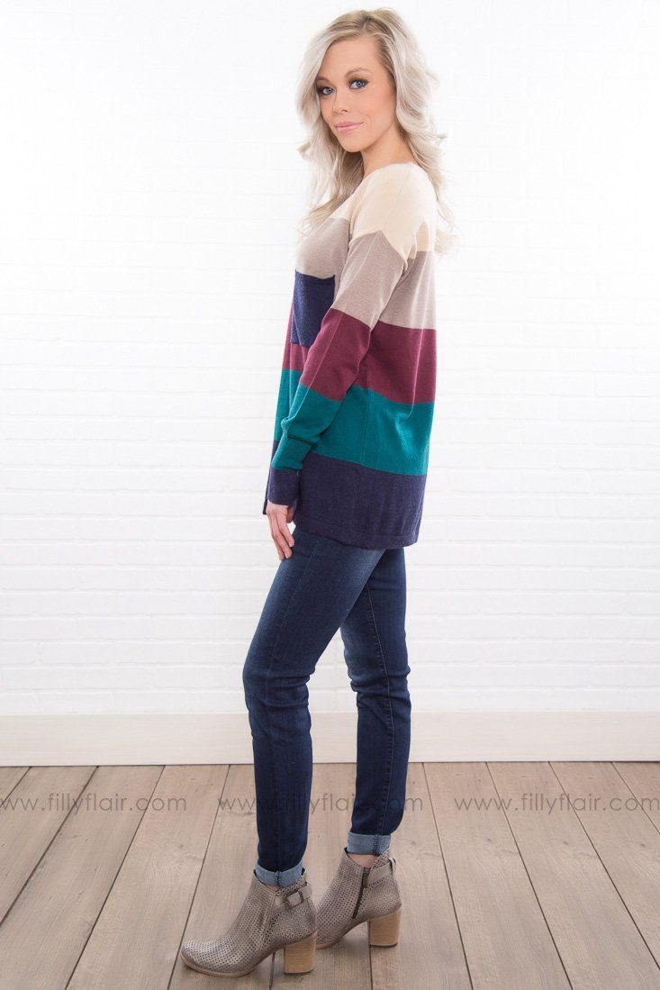 Pattern Shy Color Block Pocket Sweater In Teal