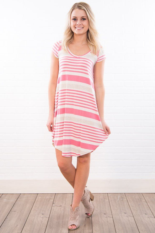Carried Away Striped Mini Dress In Pink