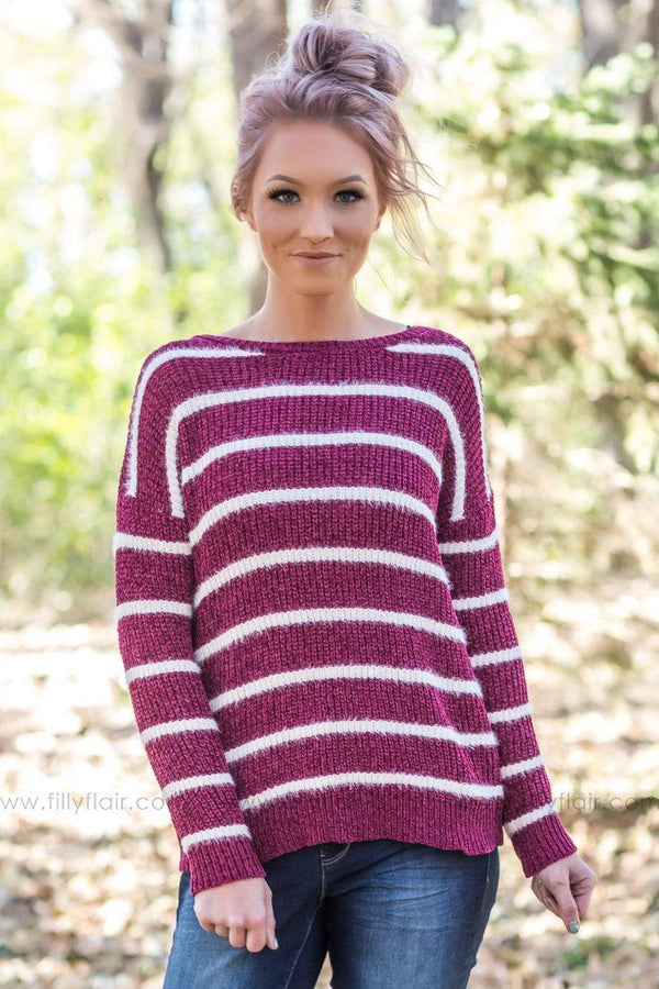 Run Out of Time Striped Sweater In Burgundy White - Filly Flair