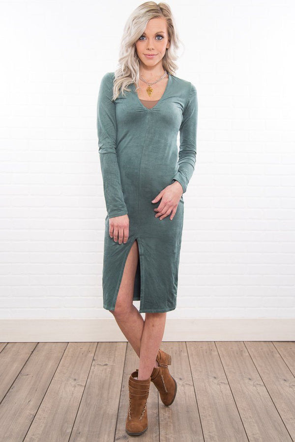 Sway My Way Slit Front Dress In Sage