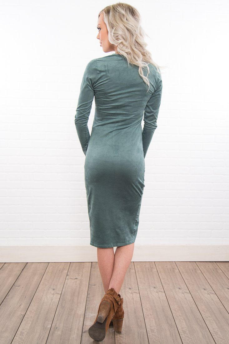 Sway My Way Slit Front Dress In Sage - Filly Flair