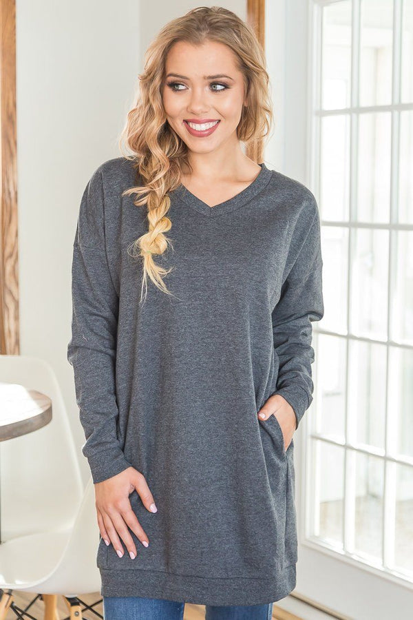 Take Comfort In This Oversize Sweatshirt In Charcoal