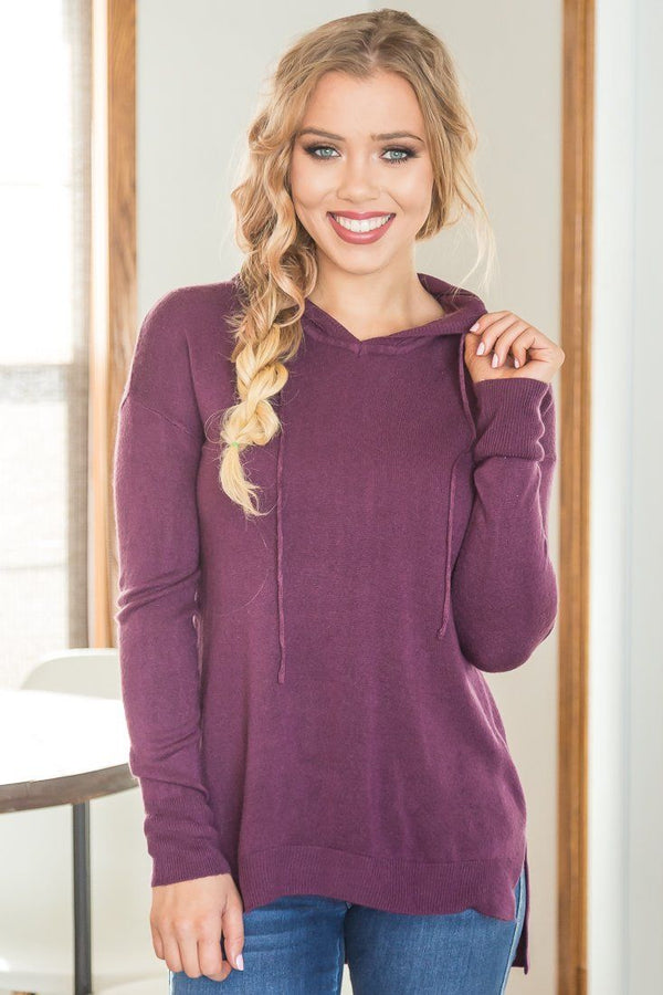 That Lovin' Feeling Long Sleeve Hoodie In Plum
