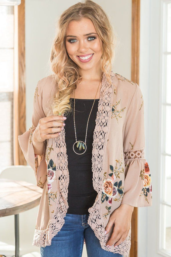 The Best Day Floral Bell Sleeve Kimono In Taupe