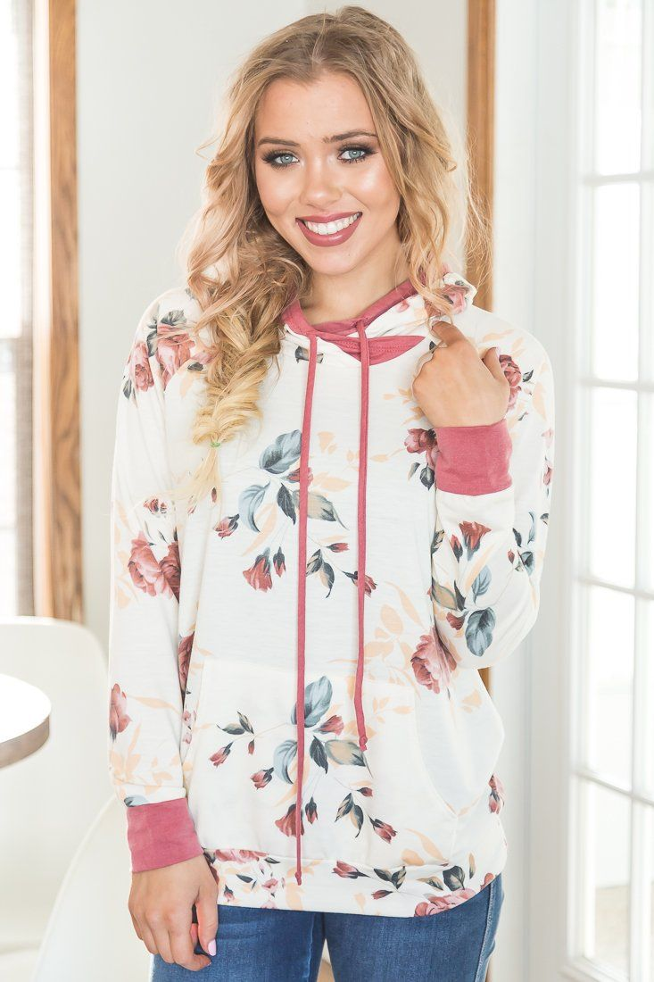 When You Think Of Me Floral Print Hoodie In Ivory