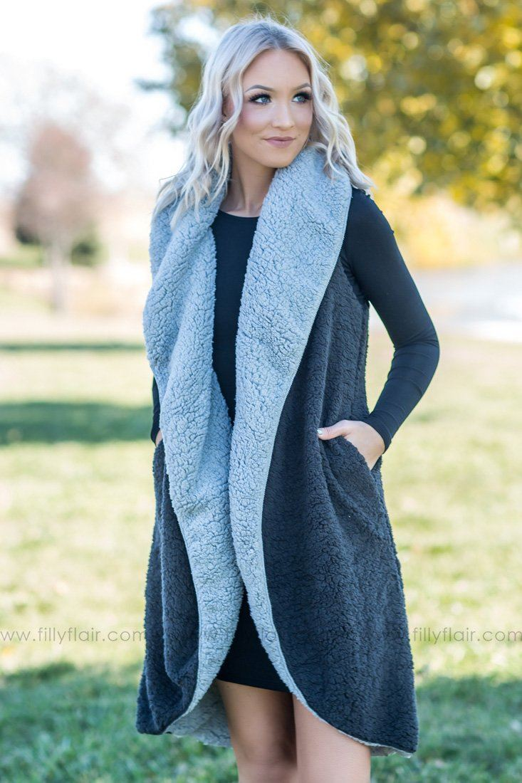 In The Shadows Long Reversible Sherpa Vest In Grey Black - Filly Flair