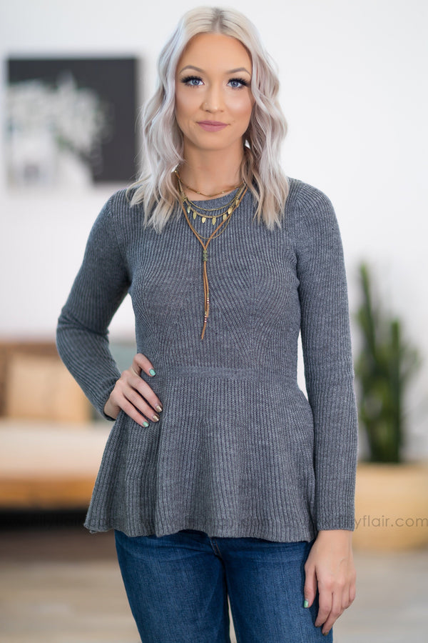 Meant To Be Long Sleeve Peplum Sweater in Charcoal - Filly Flair