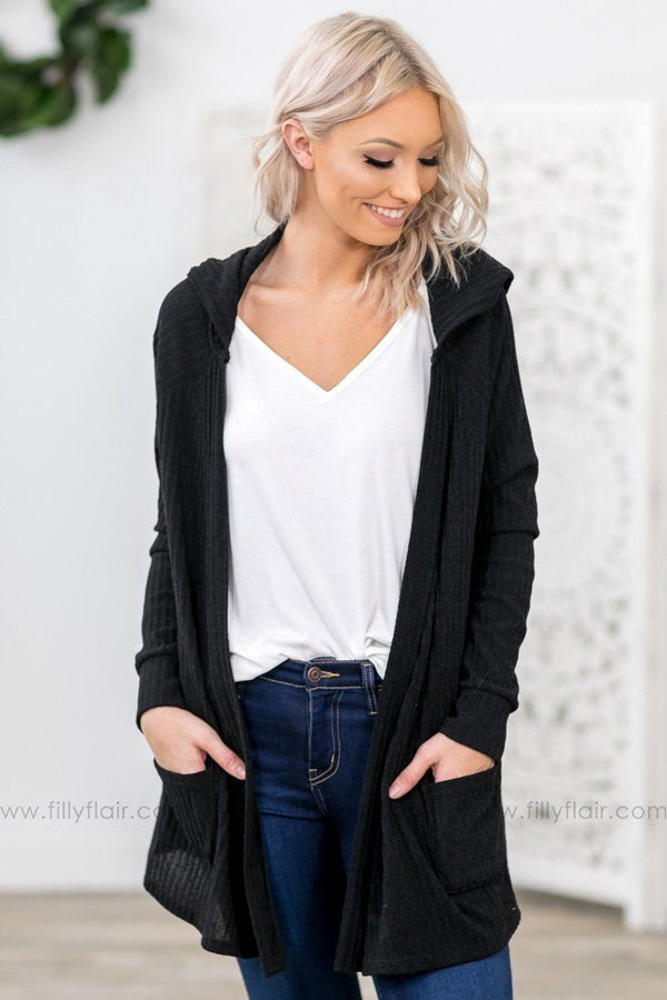 The One For Me Long Sleeve Ribbed Open Cardigan In Black - Filly Flair