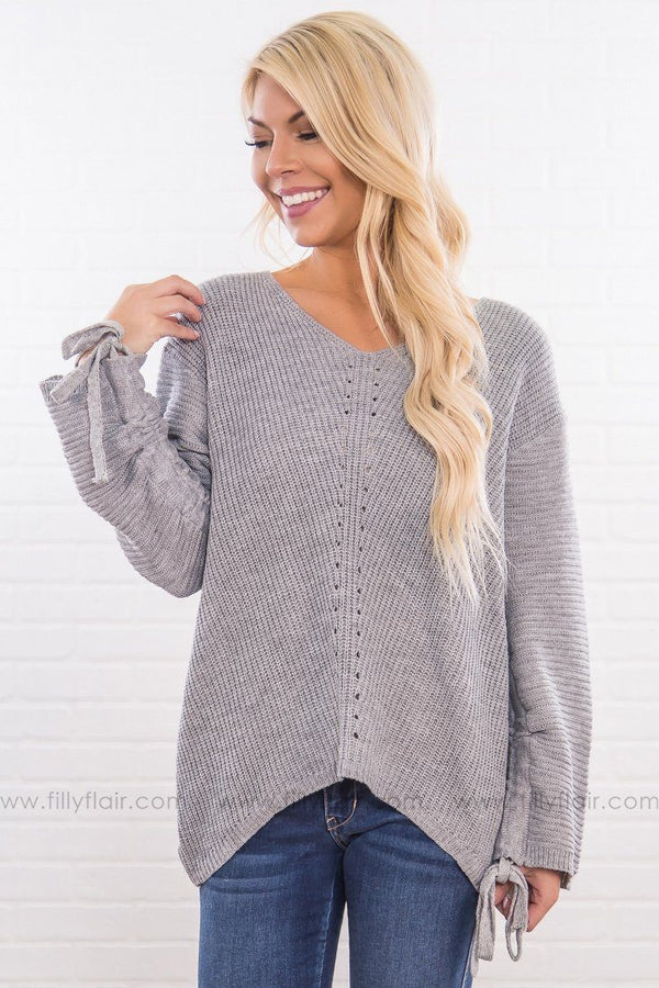 If You're Lonely Long Tie Sleeve Sweater In Heather Grey