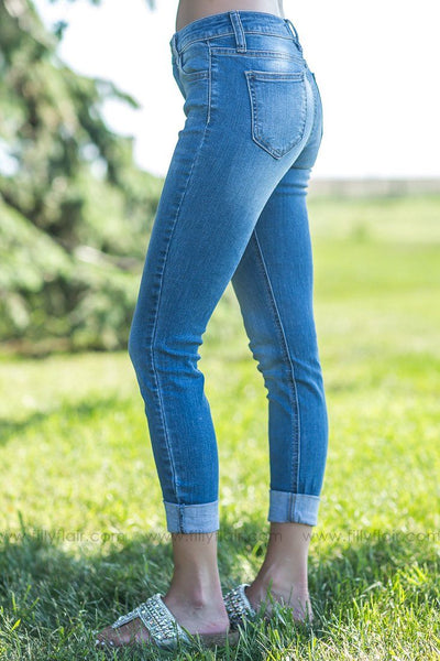 Give And Take Medium Wash Mid Rise Rolled Jeans - Filly Flair