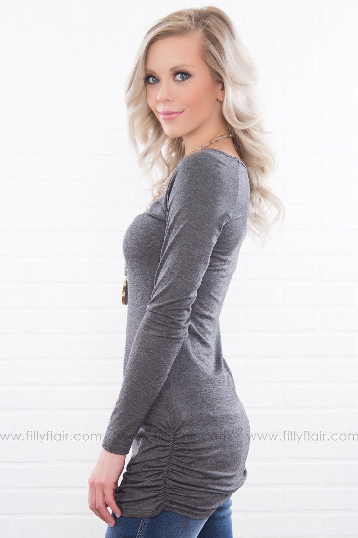 Never Loved At All Ruched Tunic In Charcoal