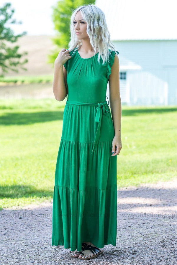 Travel Far Away Ruffle Sleeve Tie Maxi Dress In Green - Filly Flair