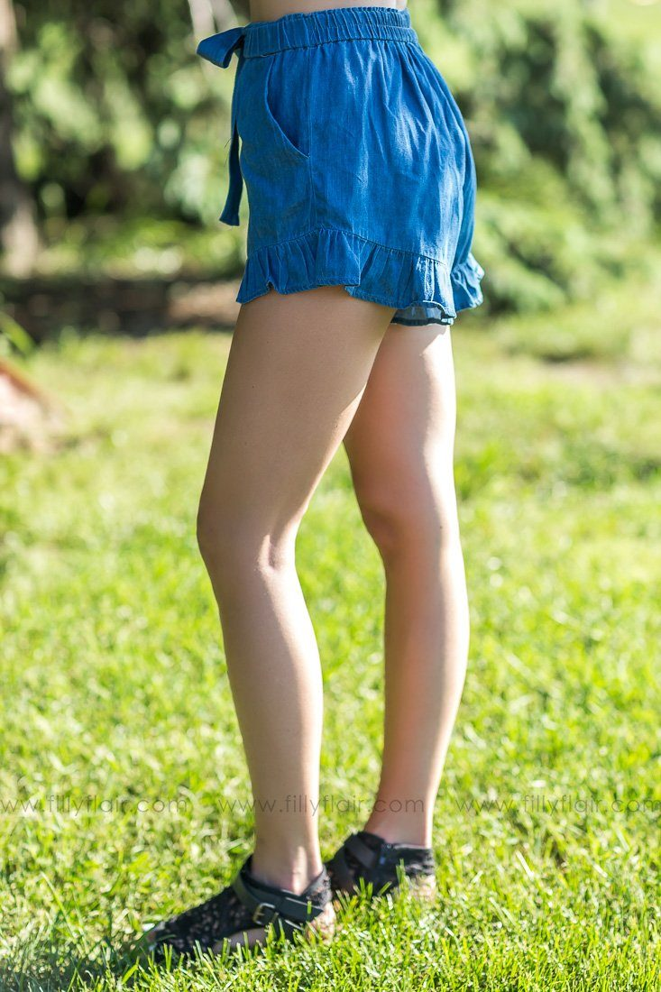 Faded Memory High Waisted Ruffle Hem Shorts In Denim - Filly Flair
