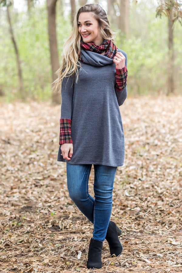 Some Kind of Way Long Sleeve Red Plaid Tunic Dress in Grey - Filly Flair