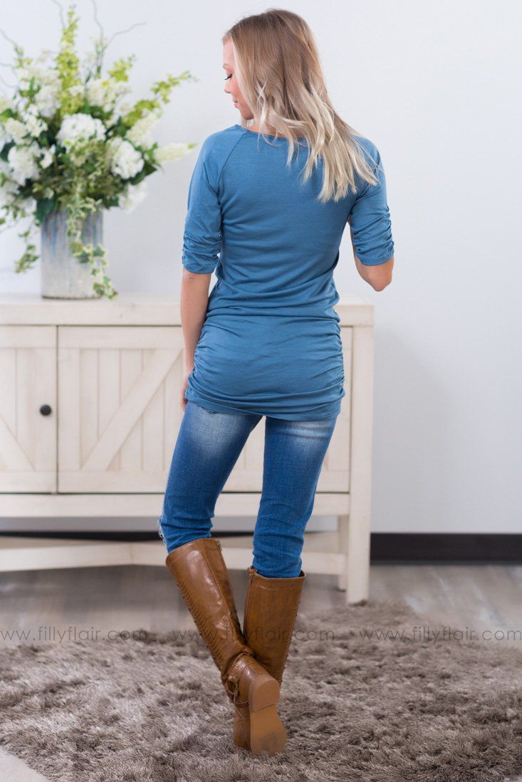 The Perfect Choice 3/4 Sleeve Tunic in Blue - Filly Flair
