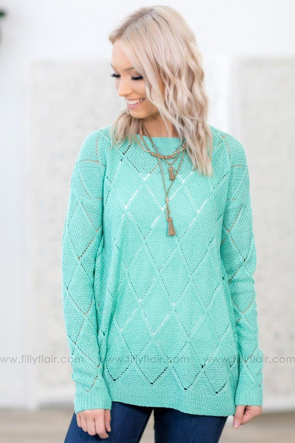 Without A Breath Long Sleeve Knit Top In Mint - Filly Flair