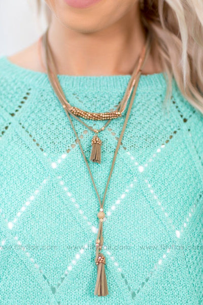 Turning Heads Rose Gold Layered Sage Suede Choker Necklace - Filly Flair