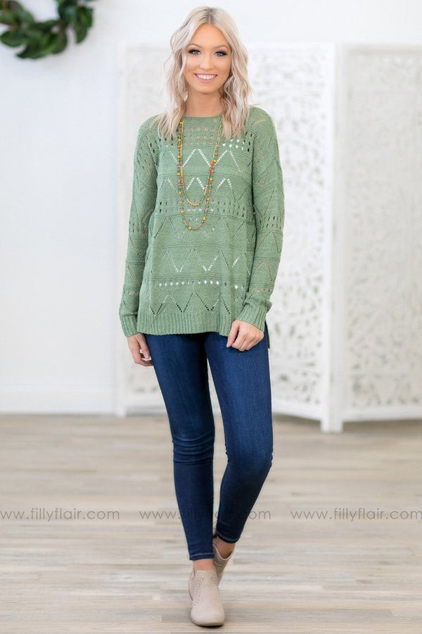 Day Dream Long Sleeve Knit Sweater in Sage - Filly Flair