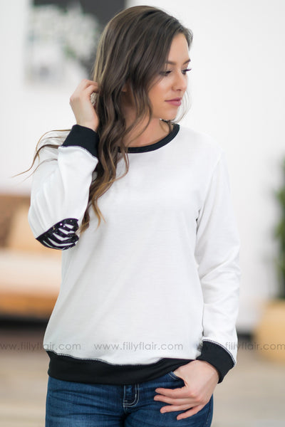 Keep it Simple Black Trim Long Sleeve Elbow Patch Top in White - Filly Flair