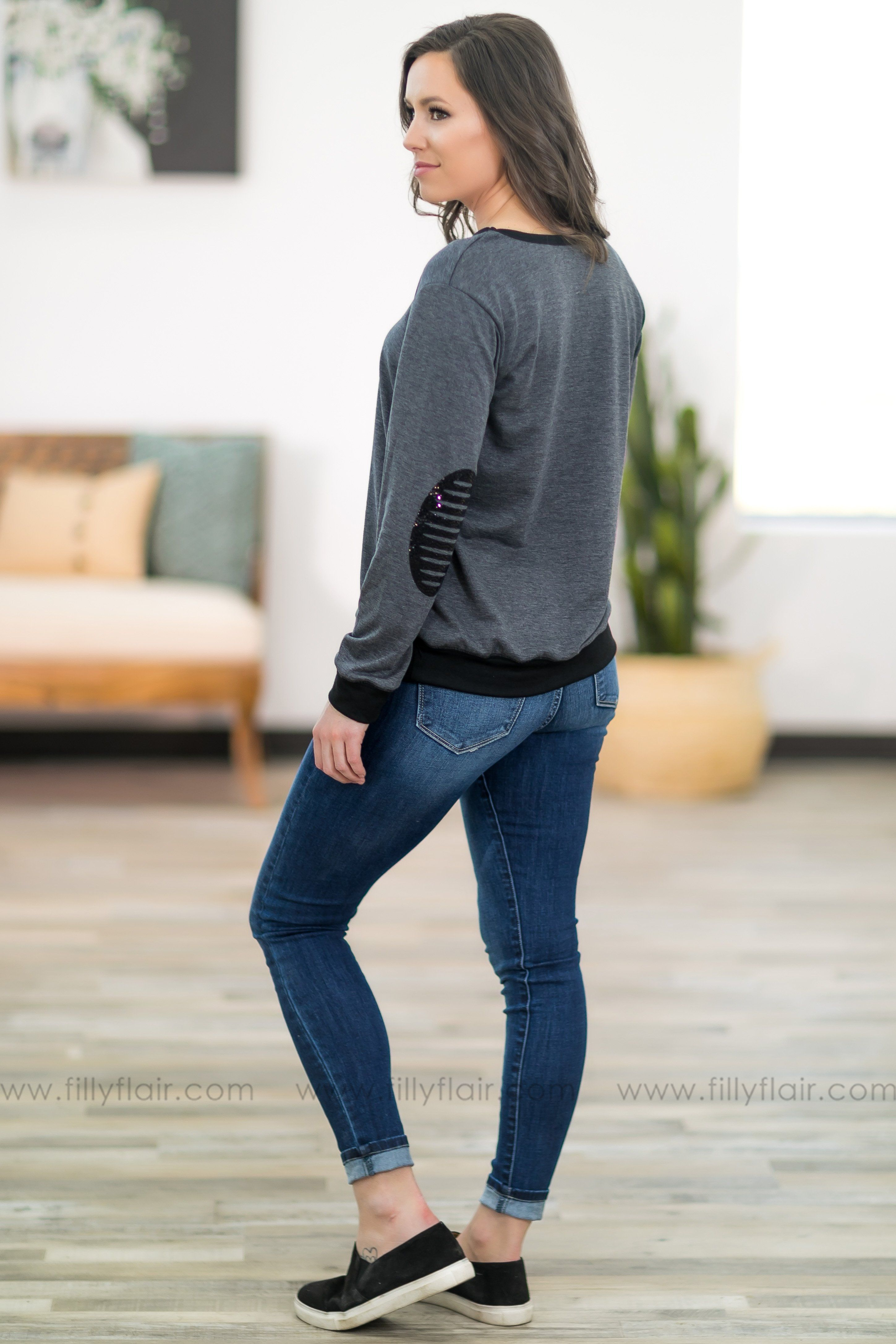 Keep it Simple Black Trim Long Sleeve Elbow Patch Top in Charcoal - Filly Flair