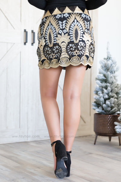 Night Out Sequin Short Skirt In Black Gold - Filly Flair