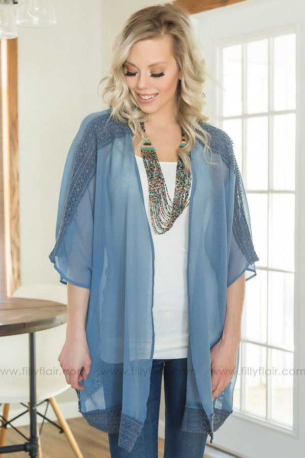 What's Left Of Me Crochet Kimono In Slate Blue