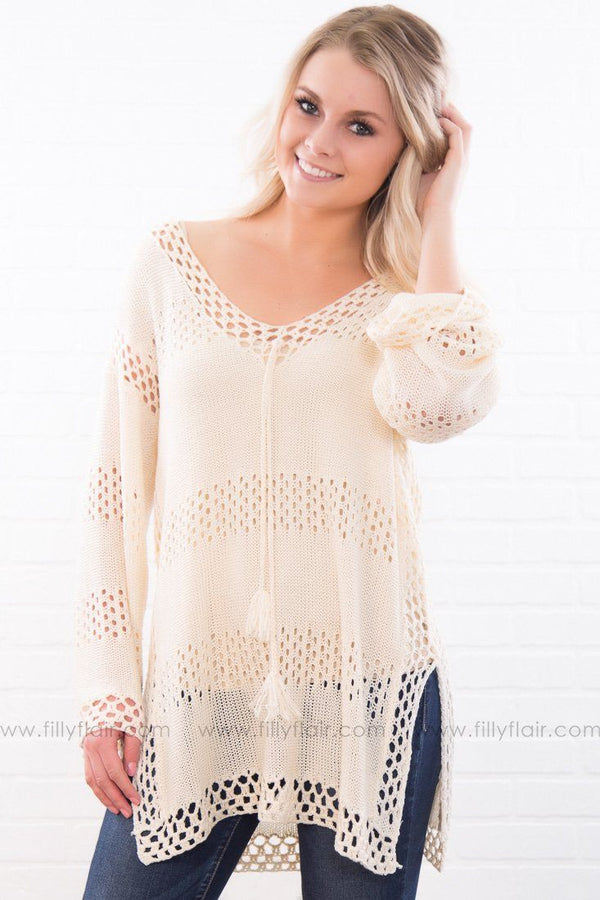 My Kind Of People Knitted Sweater In Cream