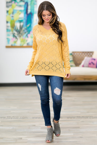 Leave You Breathless Long Sleeve V-Neck Knit Sweater In Butter - Filly Flair