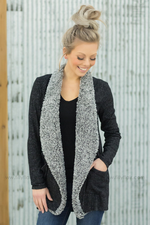 Everyday Love Long Sleeve Fur Trim Cardigan in Heathered Black - Filly Flair
