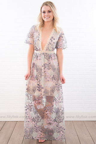 Sweet Harmony Floral Sleeveless Maxi Dress In Ivory