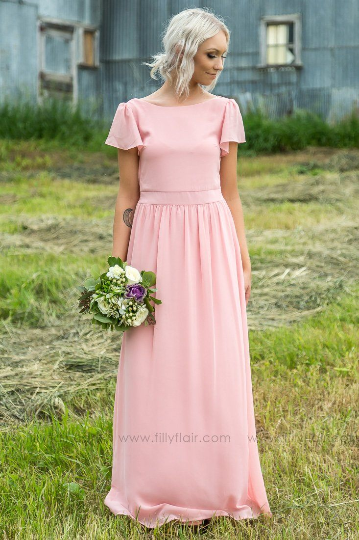 Mallory Short Sleeve Bridesmaid Dress In Blush - Filly Flair