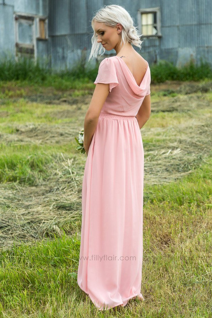 afcd2f8a6a Mallory Short Sleeve Bridesmaid Dress In Blush - Filly Flair