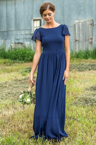Mallory Short Sleeve Bridesmaid Dress In Navy - Filly Flair