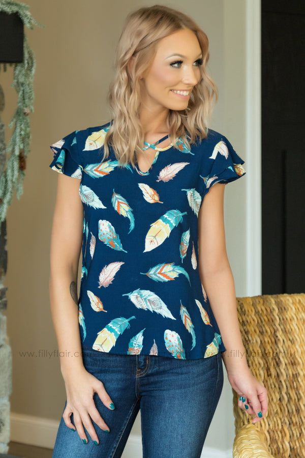Fly Away Feather Criss Cross Detail Top in Navy - Filly Flair