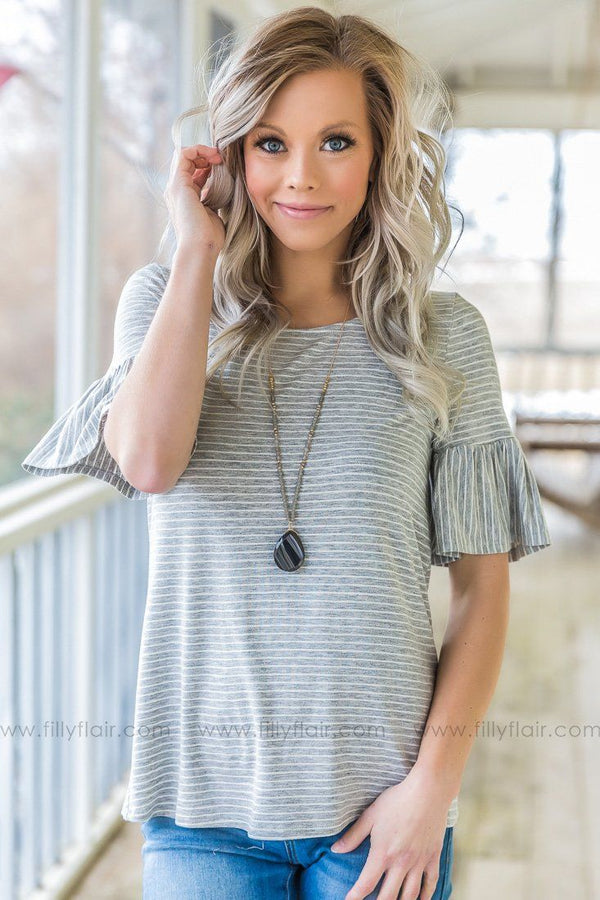 Press My Luck Striped Ruffle Sleeve Top In Grey