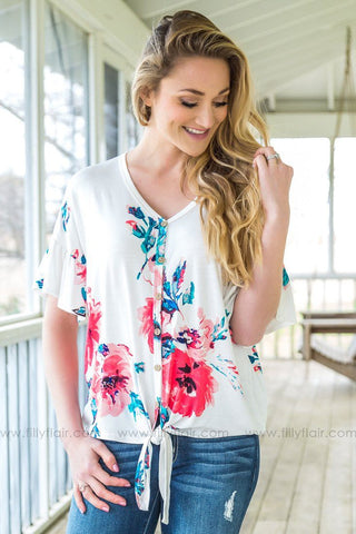 All I Know Floral Cow Skull Print Top In Strawberry