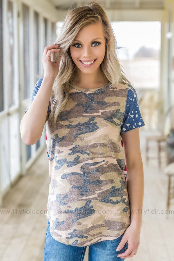 Down Home Roots Camo American Flag Tee